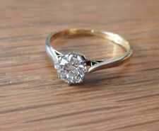 Vintage 18ct Gold Platinum Diamond  Solitaire Ring 0.50ct  Size L