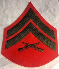 US MARINE CORPS  E-4  LCpl  LANCE CORPORAL RED PATCH GREEN CHEVRON  RIFLE  USMC