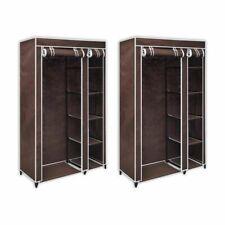 Vidaxl 2x armarios Portátiles de tela Marrón mueble ropero plegable almacenaje