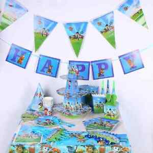 BOYS PAW PATROL BIRTHDAY PARTY TABLE COVER PLATES CUPS BUNTINGS BALLOONS