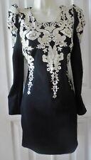 Women/Junior Evening Dress Stretch Black Gold Lace Long SLV Size S NEW