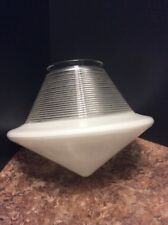 French Art Deco Clear Ribbed White Conical Glass Ceiling Light Globe Shade