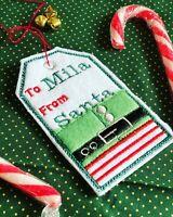 Personalised Felt Christmas Gift Tags/name Tags Elf Or Santa Design