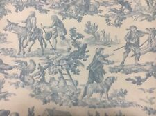 Toile De Jouy Blue fabric curtain/upholstery HEAVY COTTON material lovely 3mtrs