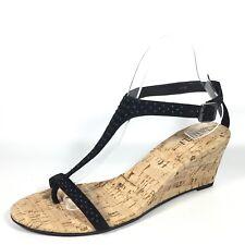 VanEli Maryam Womens Size 9 M Black Suede/ Black Studes Wedge Sandals.