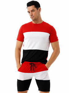 Men Outfit Two-Piece Sports Set Short Sleeve Summer Casual Short Tracksuit Set L