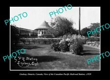 OLD LARGE HISTORIC PHOTO LINDSAY ONTARIO CANADA THE CP RAILWAY STATION c1929
