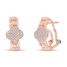 14K Rose Gold Diamond Chain Link Clover Earrings, Clover Huggie / Omega Back