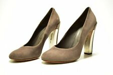 Brian Atwood Suede Pumps Womens Gray Metallic Chunky High Heels US Size 10.5