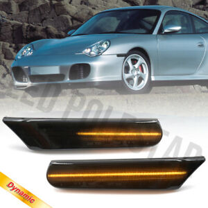 Smoked Lens Sequential LED Front Side Marker Light for 97-05 Porsche 911 996 986