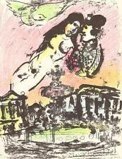 Marc Chagall Original Lithographie-Les amoureux dans le ciel Mourlot 393 32x24