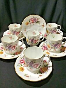 "Royal Crown Derby ""Derby Posies"" 12 piece Coffee Cups & Saucers c1970"