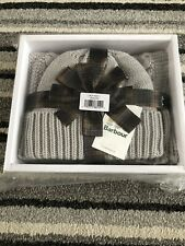 Barbour Grey Hat & Scarf Set - Brand New In Box