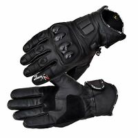 Black Leather Knuckle Protection Motorbike Motorcycle Short Summer Gloves Racing
