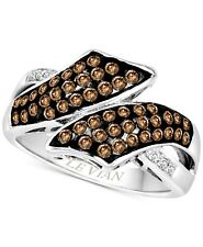 $4750 / NEW Levian cross over Ring / 5/8 CT Chocolate Diamond / 14K Gold