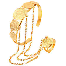 African Dubai Gold Plated Jewelry Slave Bangle Bracelet Finger Ring Hand Harness
