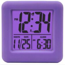NEW 70904 Equity La Crosse Soft Cube LCD Digital Alarm Clock - Purple