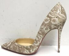 Christian Louboutin Iriza 100 Beige Patent Porcelain Pumps Heels Shoes 39