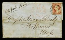 US SCOTT #11A 3c 1852 USED BOSTON 3 cts PAID CANCEL MISSENT FORWARD POSTAL COVER