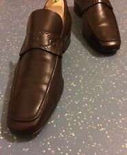 Men's Gucci Brown GG Embossed 100% Leather Loafers Shoes UK 8.5 42.5 E US 9.5