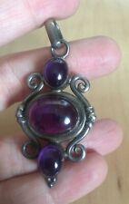 Vintage 1990s triple Amethyst and silver beautiful unique pendant