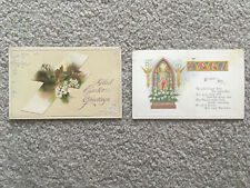TWO EASTER POSTCARDS 1915 embossed Religious Relic POST CARD vintage