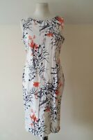 Marks And Spencer White Floral Patter A Line Lined Sleeveless Dress Size 14
