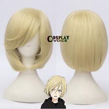 Yuri on Ice Yurio Light Blonde Short Men Boys Synthetic Anime Cosplay Wigs Cap