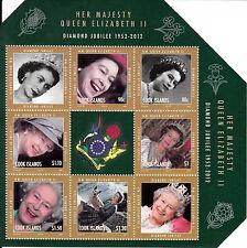 Islas Cook 2012 estampillada sin montar o nunca montada Jubileo de Diamante Reina Elizabeth II 6v m/s sellos de regalías