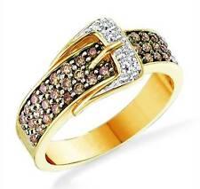 14K Yellow Gold Chocolate Brown & White Diamond Belt Buckle Ring .50ct