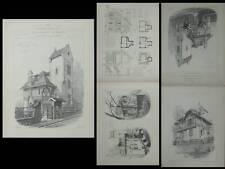 CHENEVIERES SUR MARNE, VILLA CIGOGNE - PLANCHES ARCHITECTURE 1905 - CHAMPY