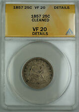 1857 Seated Liberty Silver Quarter 25c, ANACS VF-20 Details (Cleaned) AKR