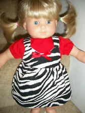 Bitty Baby Twin clothes Zebra Safari dress outift red