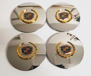 4 PCS Eldorado Deville DTS Chrome Gold Wheel Center Hub Caps 5 Lug Rim Cover RG