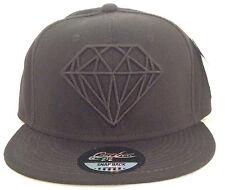 DIAMOND SNAPBACK CAP BLACK BASEBALL HIP HOP FITTED PLAIN HAT SWAG DOPE ERA HOT