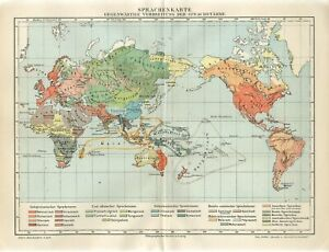 1895 WORLD PEOPLE HUMAN LANGUAGES MAP Antique Map