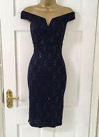 £40 EX QUIZ Navy Lace Sequin Bardot Bodycon Evening Party Dress 8 10 12 14 16 18