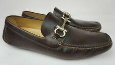 Salvatore Ferragamo Parigi Driving Shoes Brown Silver Bit Loafers Size 11 EE 2E