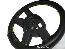 FOR HOLDEN JACKAROO 91-02 REAL BLACK LEATHER STEERING WHEEL COVER YELLOW STITCHG