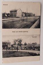 26847 AK Gruß aus Großvoigtsberg b. Freiberg Bahnhof und Militär Baracken 1919