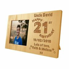 Sons Personalised 21st Birthday Wooden Photo Frame Engraved Birthday Gift Idea