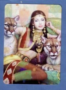 Beautiful Indian Lady with Pumas - Modern  Wide Linen Swap Playing Card