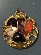 VINTAGE STATEMENT PENDANT Earth Gemstones SIGNED Organic STUDIO ART BRUTALIST