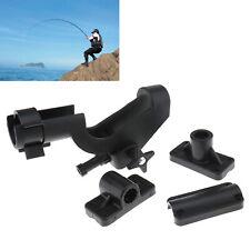 More details for 2x black fishing rod holder boat kayak 360 degree swivel side mount kits tackle