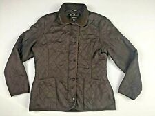 Women's Barbour Polarquilt Quilted Fleece Lined Brown Jacket Size 14