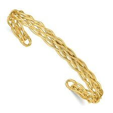 14 KT Yellow Gold Inter Weave Cable Link Style Bangle Bracelet NEW CUFF