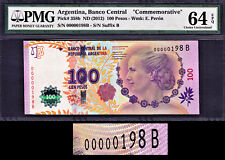 Argentina 100 Pesos 2012 Commem. LOW Serial 00000198 B P-358b CH UNC PMG 64 EPQ