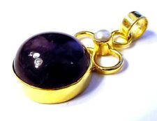 Fancy 18k Gold over .925 Sterling Silver Amethyst & Pearl Pendant S5