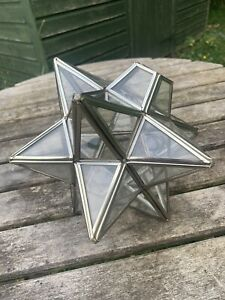 Vintage Art Deco Moravian glass/ silver star light pendant shade