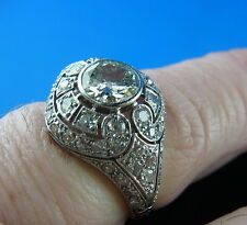 OR BLANC 18 carats bague à brillant 2,25ct France um 1860/80 ANNEAU Largeur 59